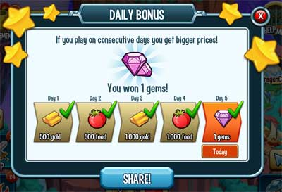 An image of daily bonus in Monster Legends.