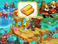 Earth habitat notifies its gold for player to collect.