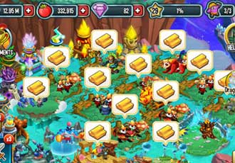 An image of many habitats are full with gold in Monster Legends.